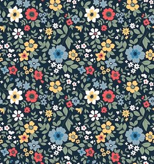 シームレスな花柄小さな色とりどりの花のちっぽけな背景