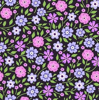 Бесшовный цветочный узор для. мелкие сиреневые цветки. черный фон. современный цветочный узор.