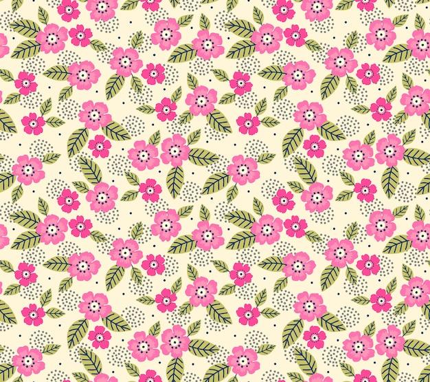 のためのシームレスな花柄。小さなピンクの花。白色の背景。ファッションプリントのテンプレート