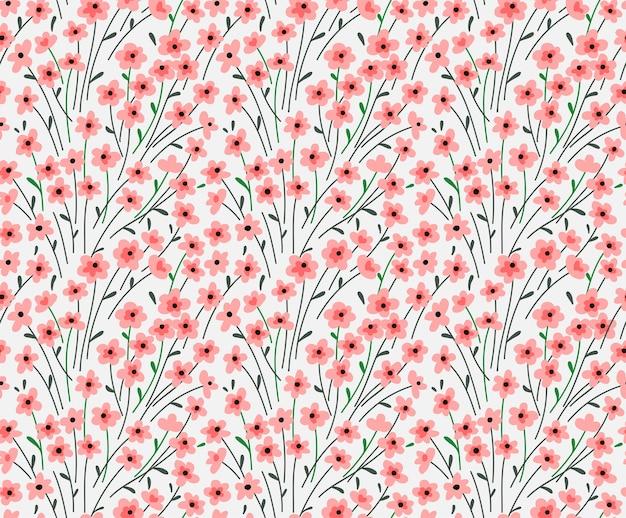 에 대 한 완벽 한 꽃 패턴입니다. 작은 분홍색 꽃. 흰 배경. 패션 인쇄용 템플릿