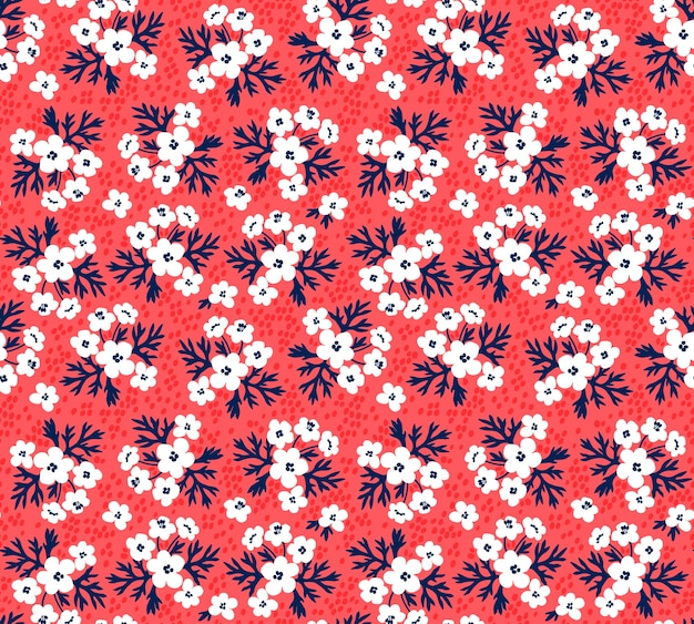 のためのシームレスな花柄。小さな白い花。赤い背景。ファッションプリントのテンプレート