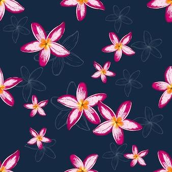 Бесшовный цветочный фон цветы франжипани.