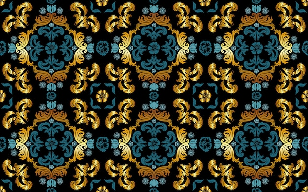 Seamless floral pattern in gold and blue