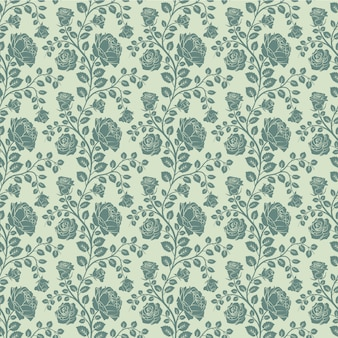 Seamless floral pattern green rose flowers and leaves