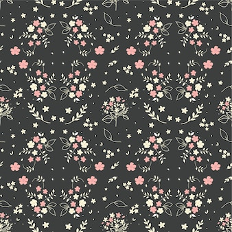 Seamless floral pattern hand drawn small white silhouette flowers in bouquet twigs berries on dark grey