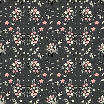 シームレスな花柄手描きダークグレーの花束小枝果実の小さな白いシルエットの花