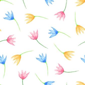 완벽 한 꽃 패턴입니다. 손으로 흩어져 있는 수채화 꽃을 그렸습니다. 베이비 샤워 또는 청첩장, 생일 카드, 인쇄물, 벽지, 스크랩북용 그래픽 요소입니다. 벡터 일러스트 레이 션.