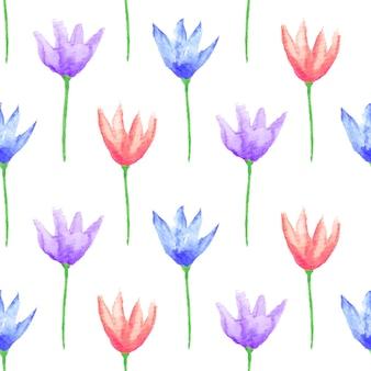 완벽 한 꽃 패턴입니다. 손으로 그린 수채화 꽃. 베이비 샤워 또는 청첩장, 생일 카드, 인쇄물, 벽지, 스크랩북용 그래픽 요소입니다. 벡터 일러스트 레이 션.