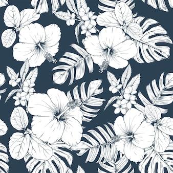 シームレスな花柄のハイビスカスとフランジパニの花の背景。