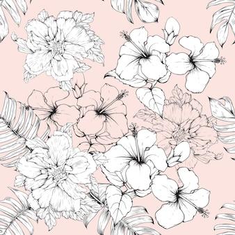 シームレスな花柄ハイビスカスの花の背景。