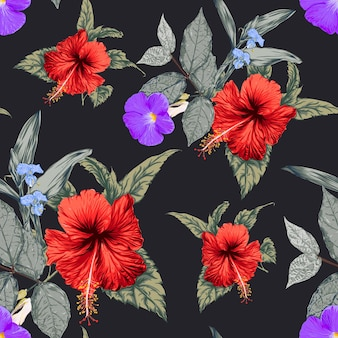 Seamless floral pattern hibiscus flowers background.