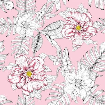 Seamless floral pattern hibiscus and frangipani flowers background.