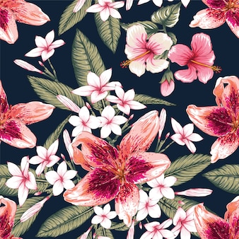 Seamless floral pattern hibiscus, frangipani and lily flowers background.