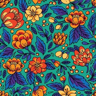 Бесшовный цветочный узор иллюстрация с яркими цветами.