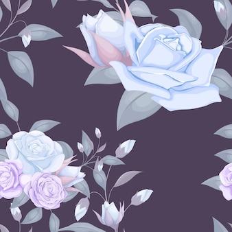 Бесшовный цветочный узор в голубых тонах