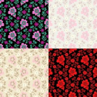 4가지 색상 조합의 매끄러운 플라워 패턴