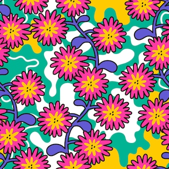 Бесшовный цветочный узор в стиле ретро хиппи