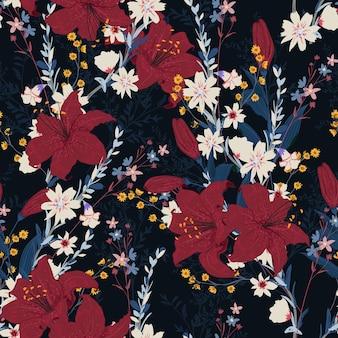 さまざまな種類の花を持つナイトガーデンのシームレスな花柄、ファッション、ファブリック、テキスタイル、壁紙、ラッピング、ネイビーブルーの背景色のすべてのプリントのデザイン