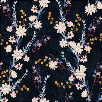 別の種類の花、ファッション、ファブリック、テキスタイル、壁紙、ラッピング、すべてのプリントのデザインで夜の庭でシームレスな花柄