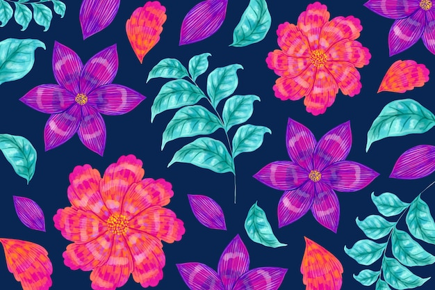 Seamless floral pattern and leaves