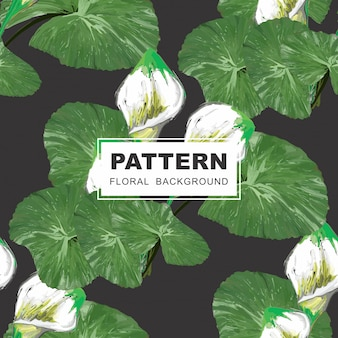 Seamless floral pattern - lillies and leaves