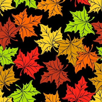 Seamless floral pattern of multi colored leaf. hand-drawn illustration