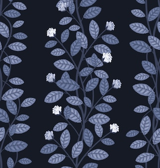 Бесшовный цветочный узор на синем фоне векторные иллюстрации