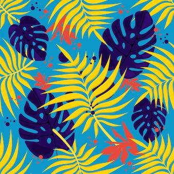 Бесшовный цветочный узор на синем фоне