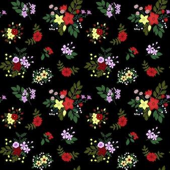 暗い背景にシームレスな花柄ファッションプリントのためのシームレスな花柄patectorテクスチャ