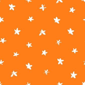 Seamless floral pattern of orange fruit bloom textural orange background in retro vintage style