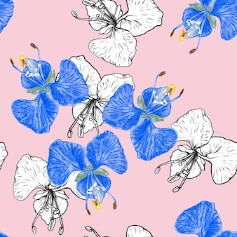Seamless floral pattern orchid flowers background.