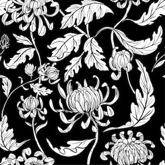 シームレスな花柄。牡丹の花。ビンテージ・スタイル。