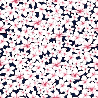 Seamless floral pattern pink frangipani flowers abstract background.