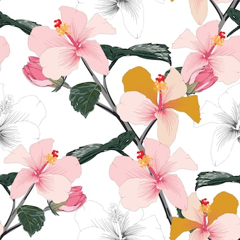 Seamless floral pattern pink pastel color hibiscus flowers.