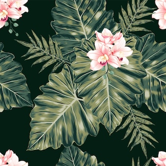 Seamless floral pattern pink pastel orchid flowers monstera leafs abstract background. illustration watercolor hand drawning.