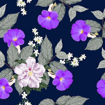 Seamless floral pattern purple flowers background.