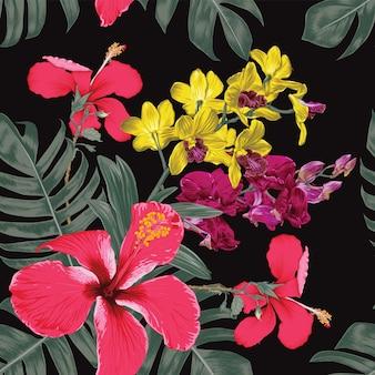 シームレスな花柄の赤いハイビスカスと蘭の花。