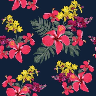 Seamless floral pattern red hibiscus and orchid flowers.