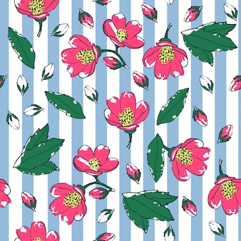 Seamless floral pattern on a striped background.