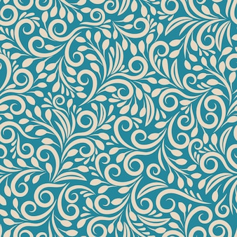 Seamless floral pattern on uniform background. ornament darkcyan, design fabric art, fashion contour