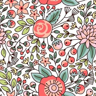 완벽 한 꽃 패턴입니다. 밝은 꽃 벡터 일러스트 레이 션.