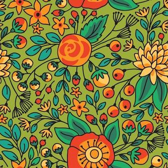 シームレスな花柄。明るい花とベクトルイラスト。