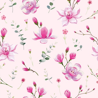 Seamless floral pattern. water color style, magnolia flower.