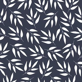 シームレスな花柄暗い背景に白い植物