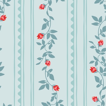 Seamless floral pattern with abstract stripe.