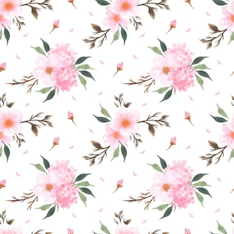 Seamless floral pattern with beautiful pink sakura japanese cherry blossom