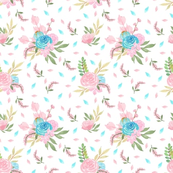 Seamless floral pattern with blue and pink flowers