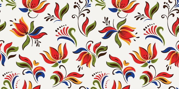 Seamless floral pattern with bright colorful flowers and tropic leaves
