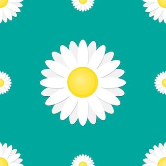 Бесшовный цветочный узор с ромашкой. милый цветок в плоском стиле.