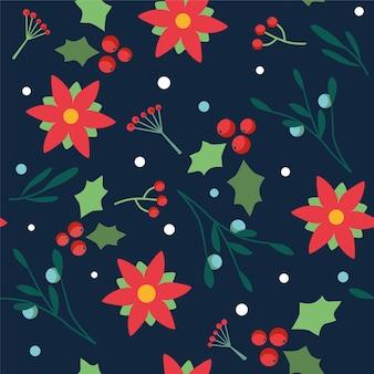 クリスマスの花とベリーとのシームレスな花柄